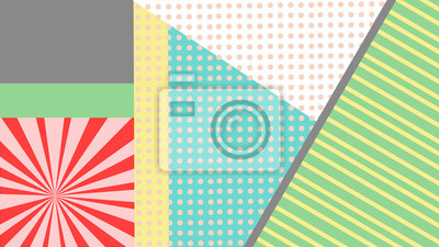Kolorowe elementy pop art z kropek i linii.