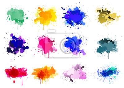 Naklejka Kolorowe farby rozpryskuje