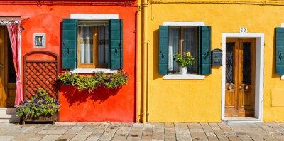 Naklejka Kolorowe fasady domu w Burano, Włochy