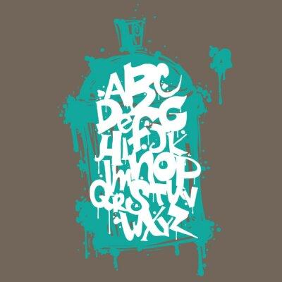 Naklejka Kolorowe graffiti litery alfabetu czcionki. Graffiti hip hop projektowania