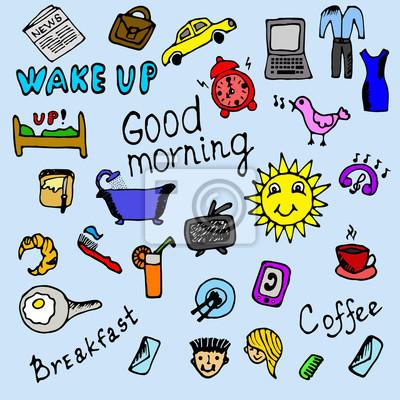 Kolorowe ikony rano rysowane ręcznie ustawić