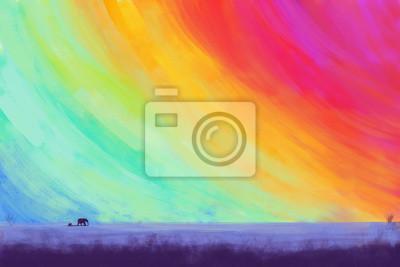 Kolorowe niebo ze słoniami / ilustracji rysunku / krajobraz