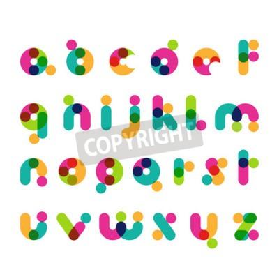 Kolorowe okrągłe współczesne symbole czcionek. Łacińska dekoracyjne alfabetu. Wektor logo szablon.