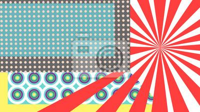 Kolorowe pop art z kropkami, linie i okręgi.