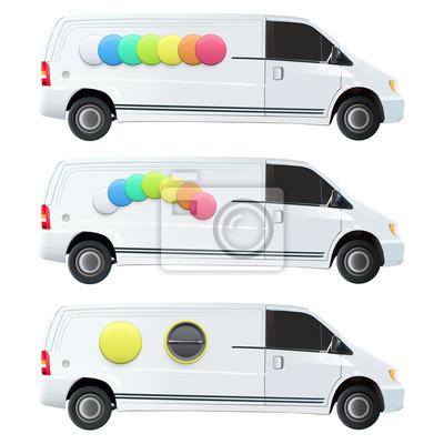 Kolorowe przyciski drukowane na vana.