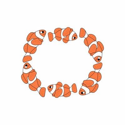 Kolorowe ryby morskie ramki. Wektor. Odosobniony.