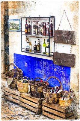 Naklejka kolorowe sklepy na starym mieście Obidos w Portugalii, artystyczny obraz