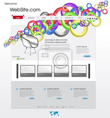 Kolorowe szablon strony internetowej z okręgu i galeria