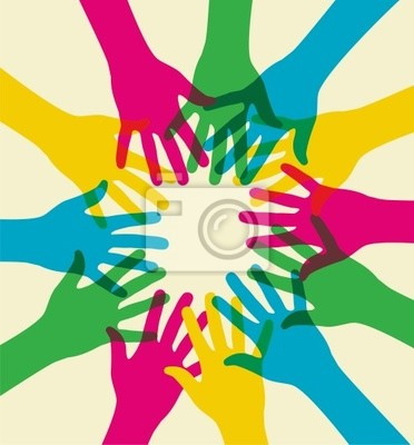 Naklejka kolorowe teamwork