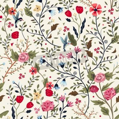 Naklejka kolorowe uroczy bez szwu kwiatowy wzór na beżowym tle