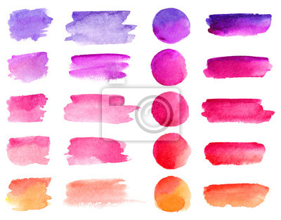Naklejka Kolorowe wektor akwarela pociągnięcia pędzlem. Tęcza kolory farby akwarelowe plamy transparent wektor zestaw tła