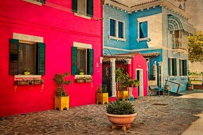 Naklejka Kolorowy budynek mieszkalny w Burano, Włochy 1