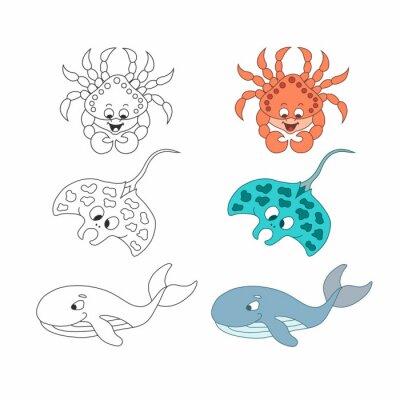 Kolorowy krab kreskówka, płaszczka, wieloryb. Wektor. Odosobniony.