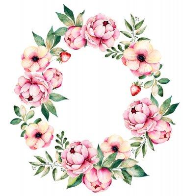 Naklejka Kolorowy kwiatowy wieniec z piwonii, kwiaty, liście, soczyste roślin, gałęzi, truskawek i more.Lovely Bukiet collection.Perfect do ślubu, ramki, cytaty, wzór, blogi, karty okolicznościowe i nie tylko