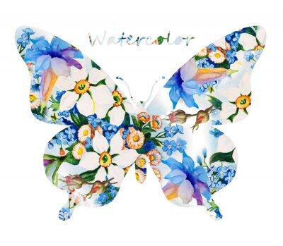 Naklejka Kolorowy motyl na białym tle