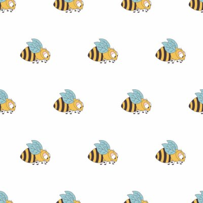 Kolorowy pszczoły bezszwowy wzór. Ilustracja słodkie dziecko. Tło dla chłopiec i dziewczyny.