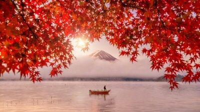 Naklejka Kolorowy sezon jesienny i góra Fuji