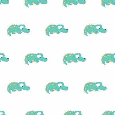Kolorowy śliczny krokodyla bezszwowy wzór dla dziewczyny i chłopiec. Ładne tło