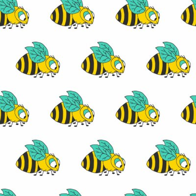 Kolorowy śliczny pszczoły kreskówki wektoru wzór. Tło pszczoły miodnej