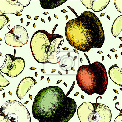Kolorowy wzór z jabłek.