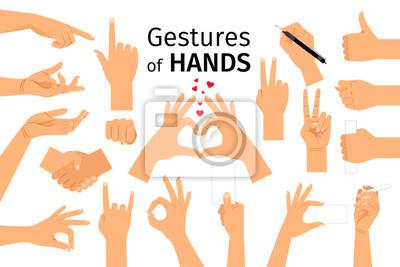 Naklejka Kolorowy zestaw gestów rę cznych