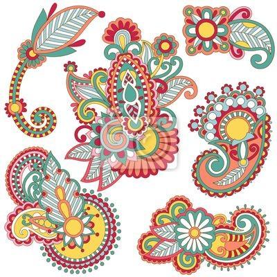 kolorowych kwiatów ozdobnych design element dekoracji.