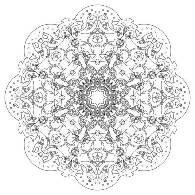 Naklejka Kołowy wzór z ptaków i kwiaty w stylu Doodle