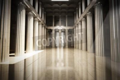 Naklejka Kolumna Wnętrze pusty pokój, prawo lub rząd, tło, Pojęcie, model 3d sceny