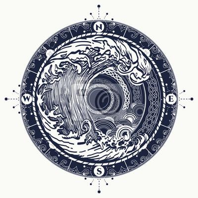 Naklejka Kompas Morze i burzy tatuaż celtic stylu.
