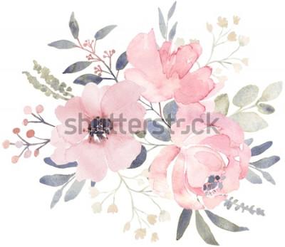 Naklejka Kompozycja bukietowa ozdobiona zakurzonymi różowymi akwarelowymi kwiatami i eukaliptusową zielenią