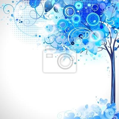 Kompozycja z niebieskim zima śnieg drzewa