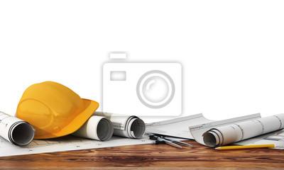 Naklejka Koncepcja budowy i projektowania. 3d render ideowych i