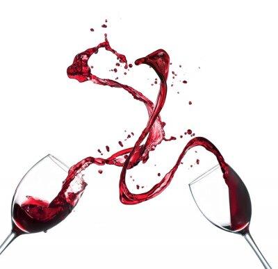 Naklejka Koncepcja czerwonego wina rozpryskiwania z okulary na białym tle