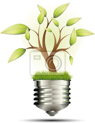 Naklejka Koncepcja ekologicznego: Albero con lampadina
