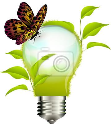 Naklejka Koncepcja ekologicznego: lampadina con foglie