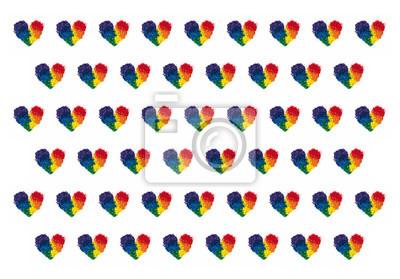 Koncepcja LGBT i miłości, kredka ołowiu w kształcie serca kolor tęczy, powtarzany wzór na białym tle