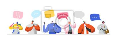 Naklejka Koncepcja relacji wirtualnych sieci społecznościowych. Płascy ludzie znaków na czacie przez Internet za pomocą smartfona. Grupa mężczyzny i kobiety z telefonów komórkowych. Ilustracji wektorowych