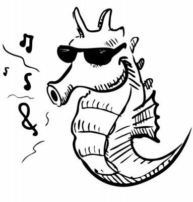 Konik morski w okularach gwizdy muzyki