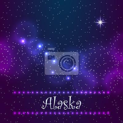 Naklejka Konstelacja Wielki Niedźwiedź i Polaris. Symbol of Alaska. Eps10 wektor ilustracji.