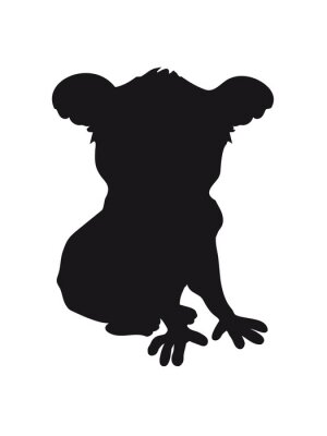 Naklejka Konstrukcja koala czarna sylwetka fajne komiks posiedzenie zarys cienia