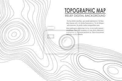 Naklejka Kontur tła mapy topograficznej. Mapa linii z wysokością. Geographic World Topography map grid streszczenie ilustracji wektorowych.