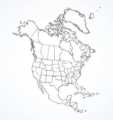 Naklejka Kontynent północnoamerykański z konturami krajów. Rysunek wektor