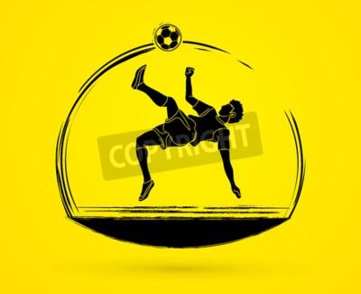 Kopnięcie piłki nożnej gracza, kopnięcie nad głową. Akcja graficzny ilustracja wektorowa.