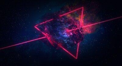 Naklejka Kosmiczne abstrakcyjne tło, płonąca kometa, błysk, laser przez kamień, jasne kolory