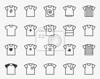 Koszulka Minimalna linia płaska Obrysowa Ikona Obrysu Zestaw Piktogramów Symbol Set Collection