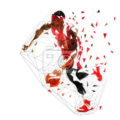 Koszykarz drybling z piłką, ilustracja na białym tle niskiej wielokąta wektor. Widok z boku