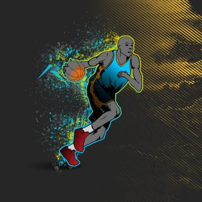 Naklejka Koszykarz dryblingu piłkę