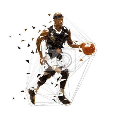 Koszykarz działa z piłką, ilustracji wektorowych niskiej wielokąta. Geometryczna drużyna sportowa ahtlette