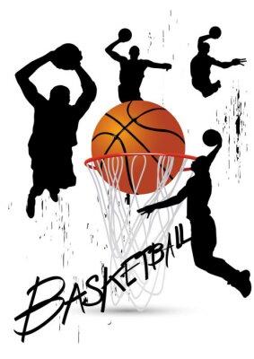 Naklejka koszykarz w postawie skoki na białym