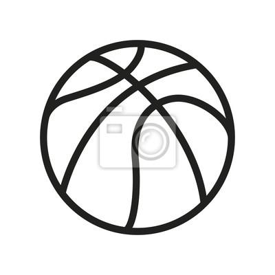 Koszykówka piłka minimalna linia płaskich kontur ikona piktogram Symbol